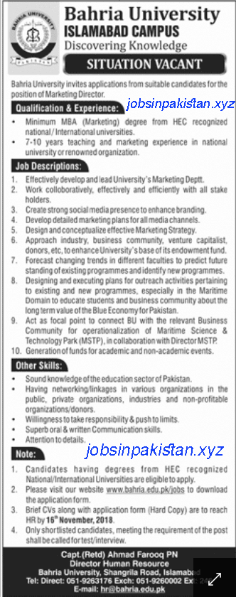Advertisement for Bahria College Islamabad Jobs 2018