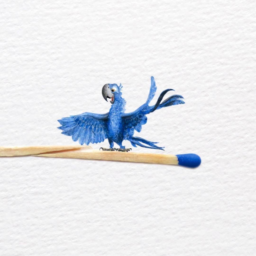 02-Blu-Macaw-from-Rio-Frank-Holzenburg-Animals-and-Fantasy-Creatures-Tiny-Paintings-www-designstack-co