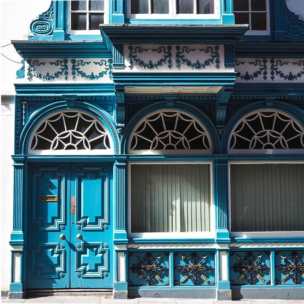 Turquoise blue building facade