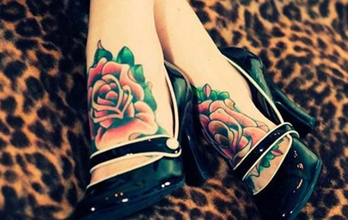 two foot rose tattoo iki ayak gül dövmesi