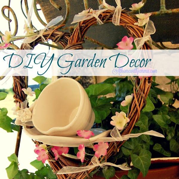 Garden Decor Grapevine Wreath and Tea Cup
