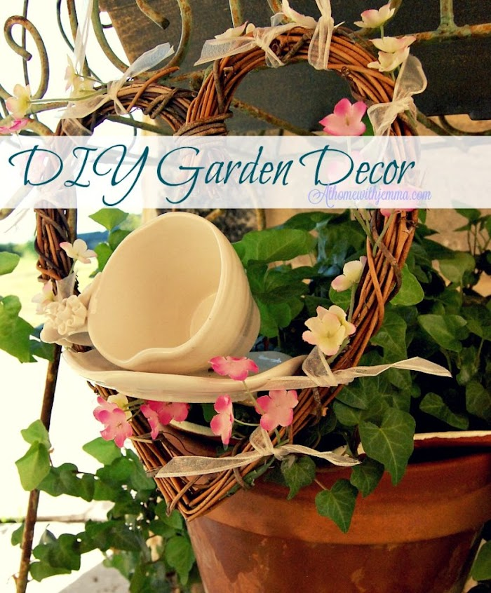 Garden Decor Grapevine Wreath and Tea Cup
