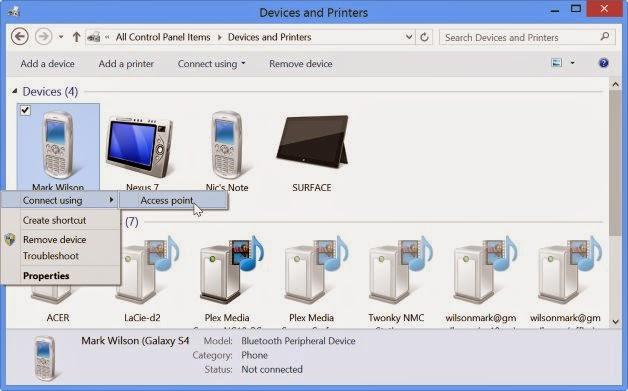 Gambar Cara Berbagi Koneksi Internet Melalui Bluetooth Dari Komputer Ke Handphone