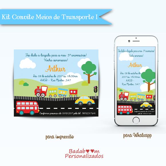 Kit de artes digitais para convite no tema Meios de transporte