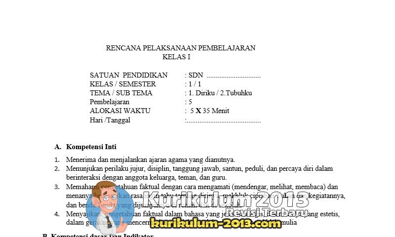 Download RPP Kelas 1 Kurikulum 2013 Semua Pembelajaran Revisi Tahun 2016 Terbaru