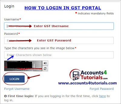 how to login in gst website