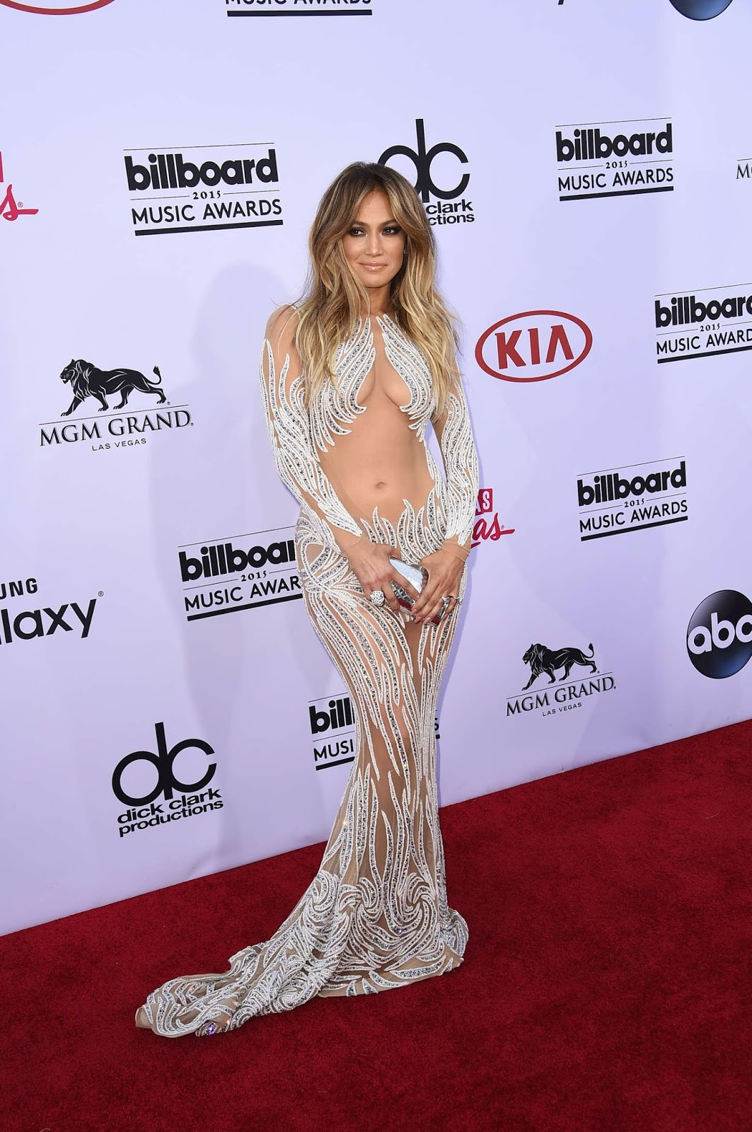 Jennifer Lopez bares it all in a sheer dress at the 2015 Billboard Music Awards
