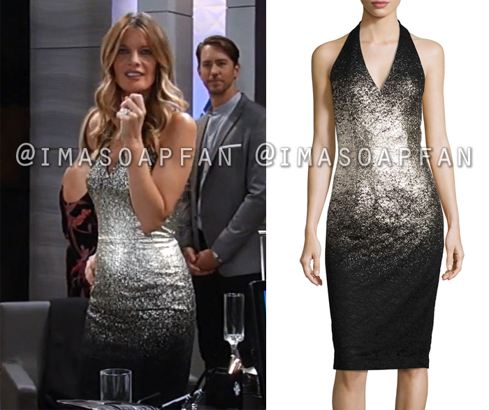 Nina Reeves, Michelle Stafford, Black and Silver Ombre Halter Dress, General Hospital, GH