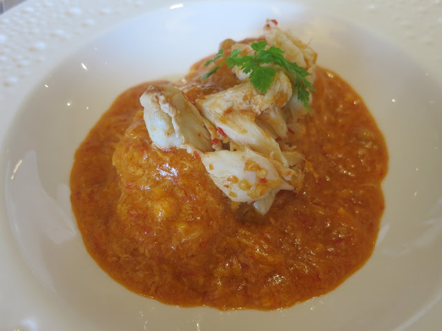 Singapore Chilli Crab Meat served with Yuzu Noodles