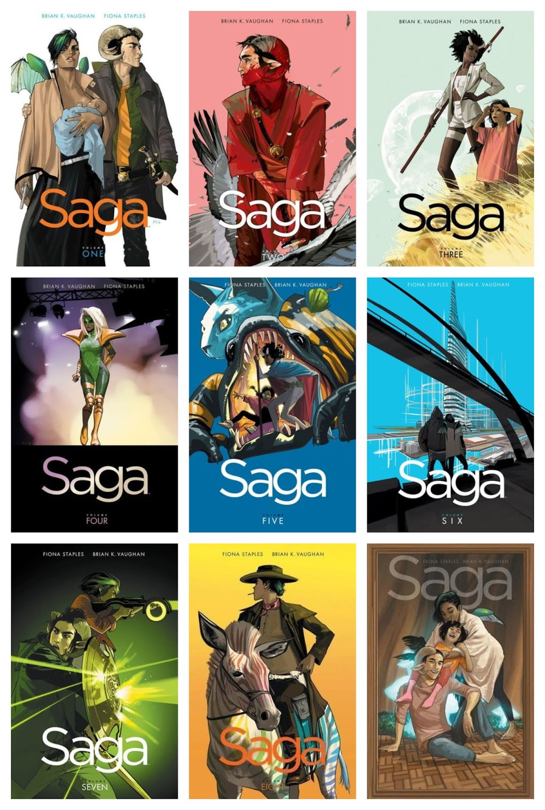 "Lauren's Boookshelf: Graphic Novel Review: ""Saga"" Volumes 1-9 by Brian K.  Vaughan & Fiona Staples"