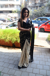 Neetu Chandra in Black Saree at Designer Sandhya Singh Store Launch Mumbai (69).jpg