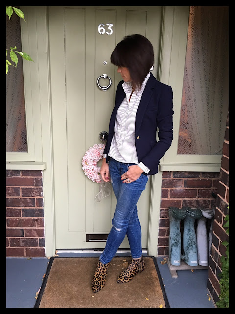My Midlife Fashion, Zara Navy Textured Blazer, H and M stripe ruffle shirt dress, skinny distressed denim, joni leopard print boots, boden