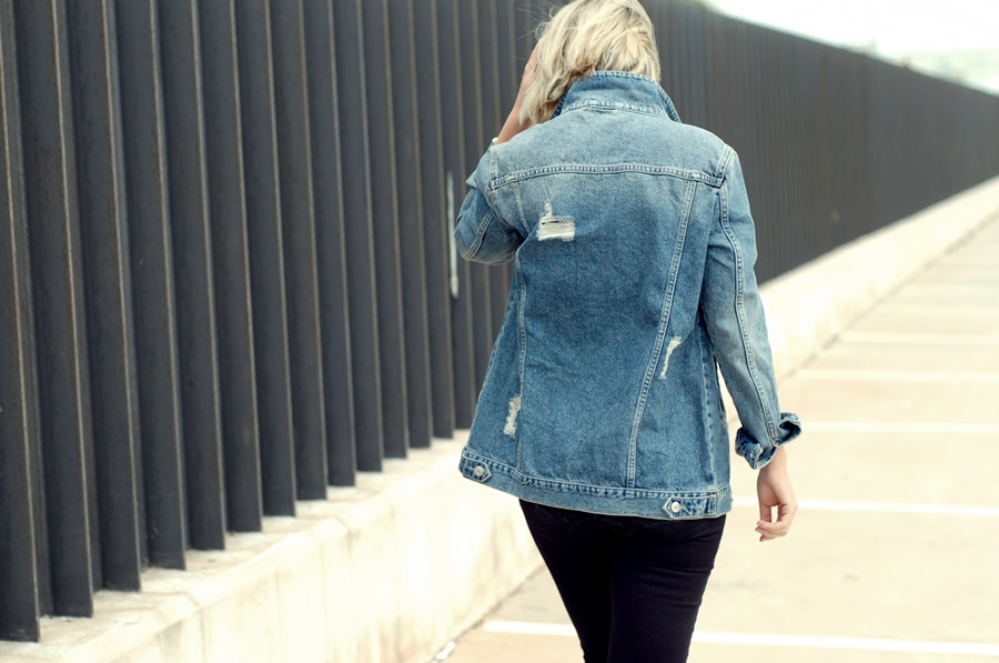 Denim jacket and black outfit  tomboy street style  snake boots littledreamsbyr