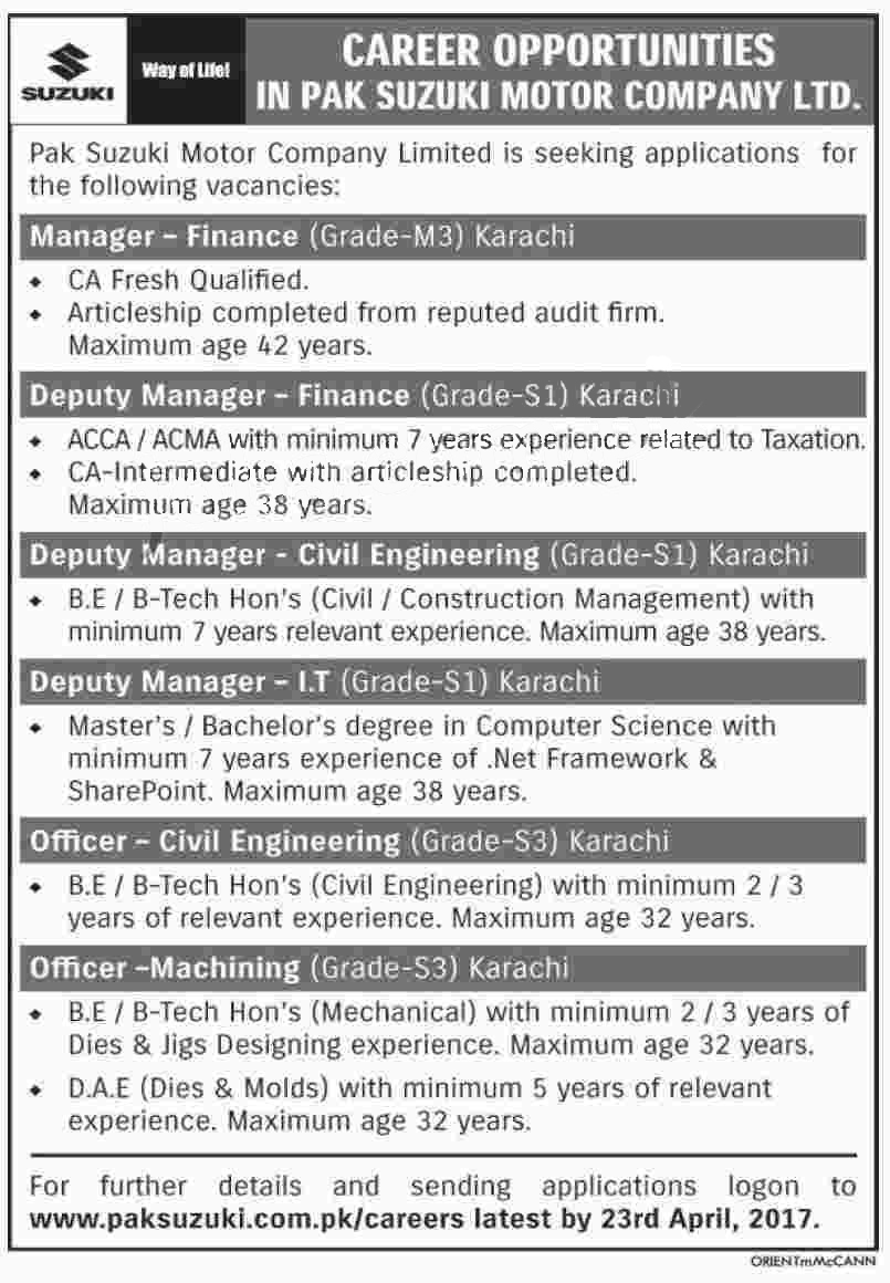 Pak Suzuki Motor Company Karachi Based Staff Required