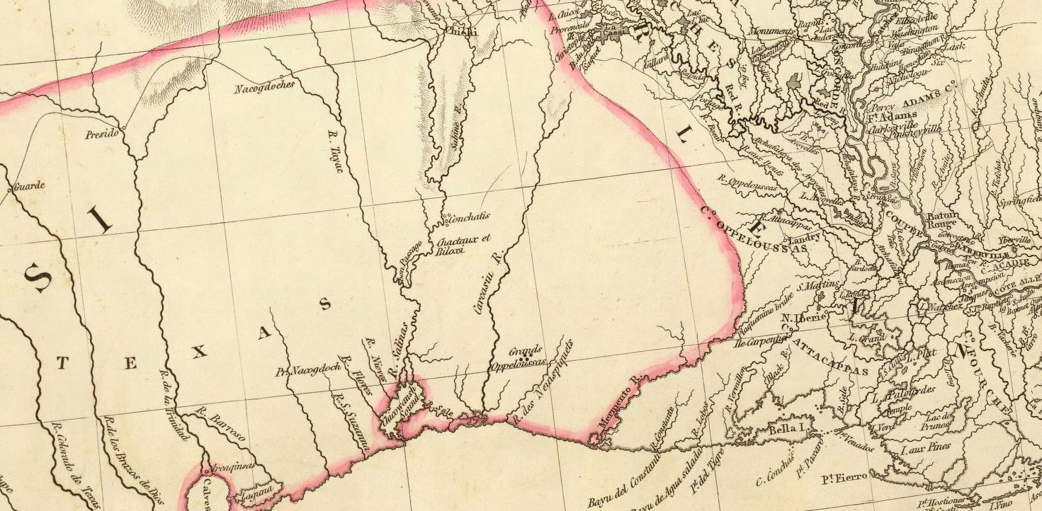 aaron arrowsmith map 1810 showing texas stretching to the mermento river