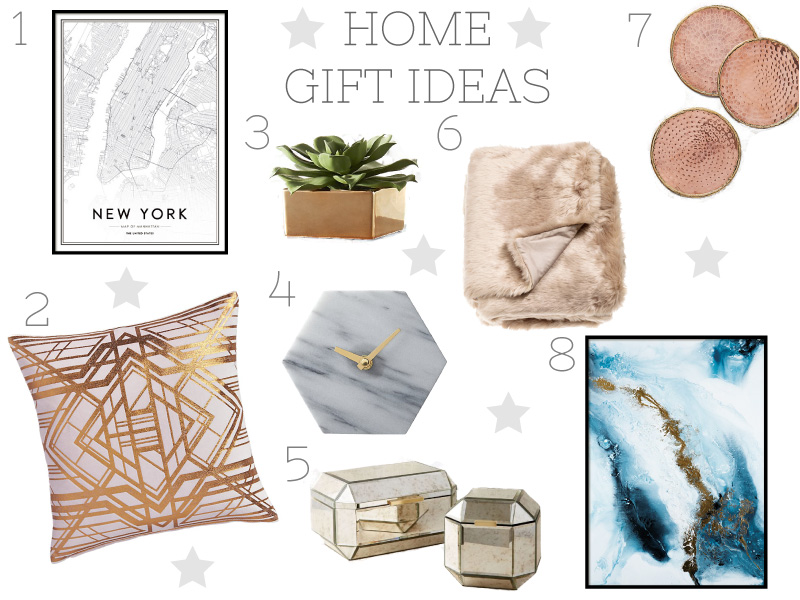 Gift guide, interiors, homeware, rose gold, graphic prints