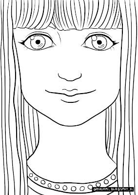 A coloring page of a woman looking at the viewer / Värityskuva naisesta katsomassa tarkastelijaa kohti