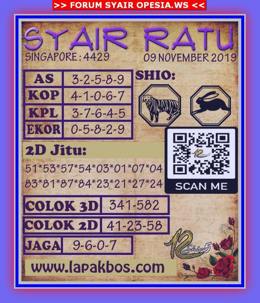 Kode syair Singapore Sabtu 9 November 2019 66