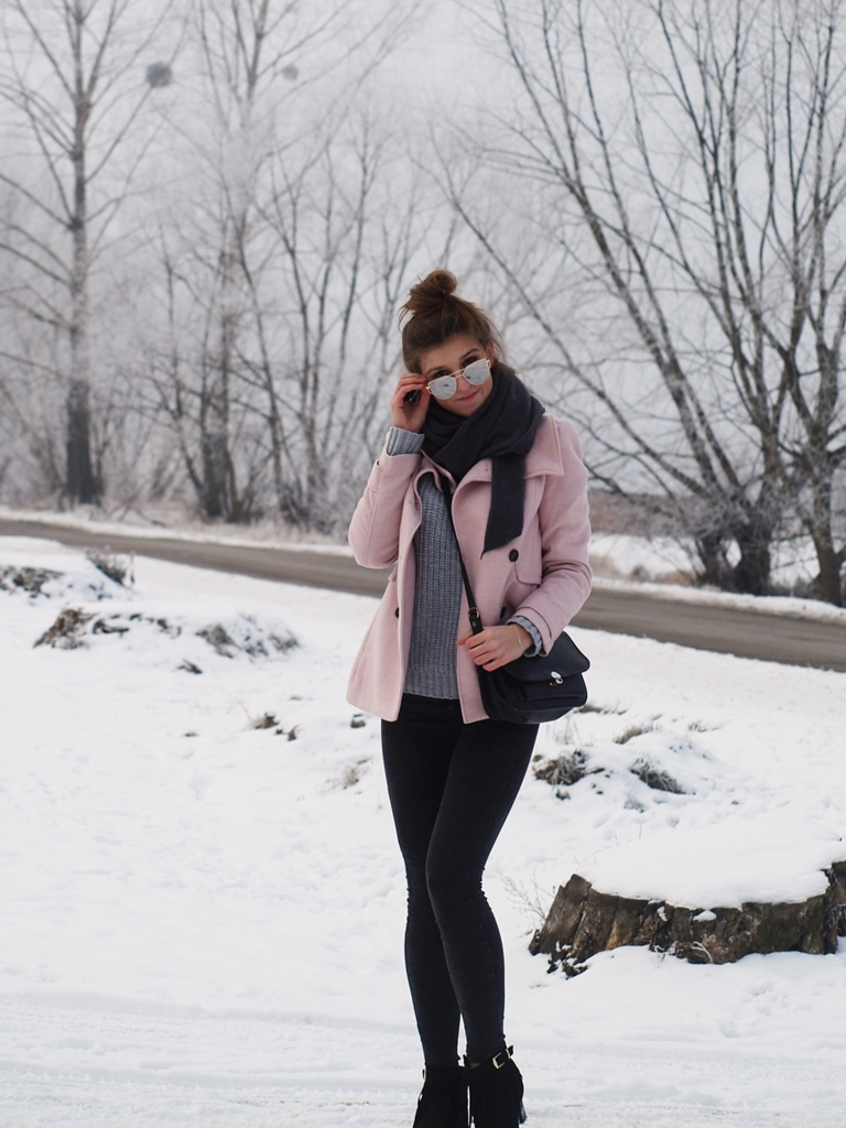 PINK COAT & GREY SWEATER
