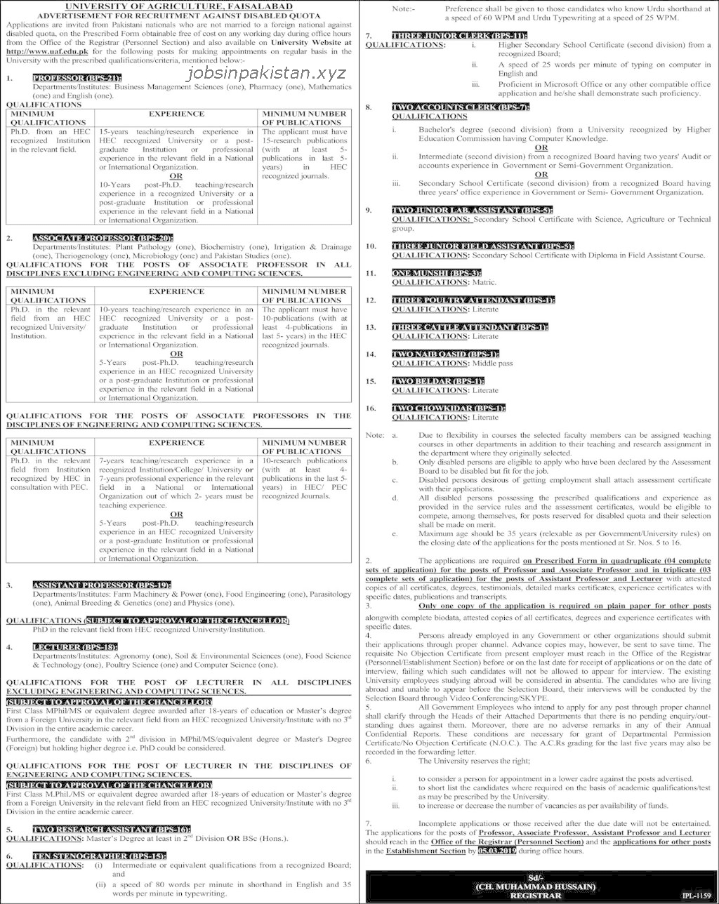 Advertisement for UAF Jobs February 2019