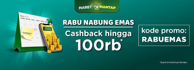 #Tokopedia - #Promo Rabu Nabung Emas & Voucher Cashback Hingga 100 Ribu (s.d 31 Maret 2019)
