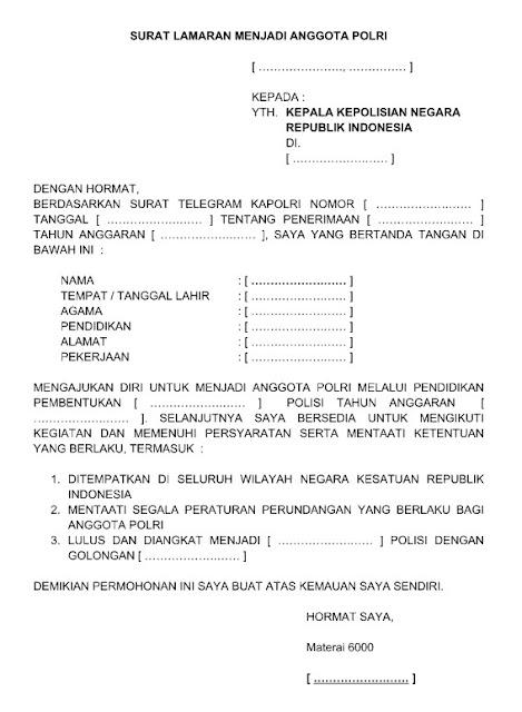 Contoh Surat Lamaran Kerja Menjadi Anggota Polri  Polwan Pormat Word  Doc