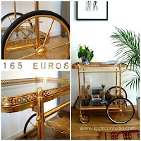 Tienda online de muebles vintage de los años 50-60-70. Camareras doradas y mesas minibar con ruedas