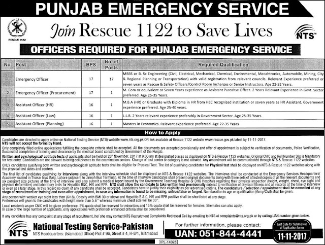 Jobs in Punjab, Jobs in Lahore, Jobs For Engineers, Engineering Jobs, Medical Officers Jobs, Jobs For Doctors, NTS jobs, Rescue 1122 Jobs, Government Jobs
