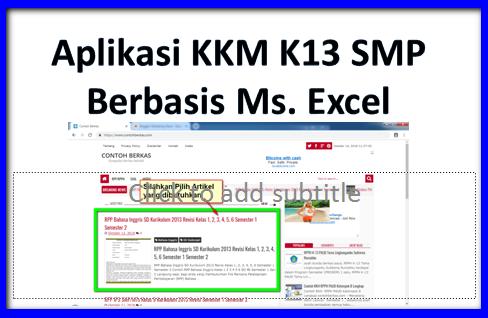 KKM Kurikulum 2013 SMP Kelas 7 8 9 Excel Semua Mata Pelajaran