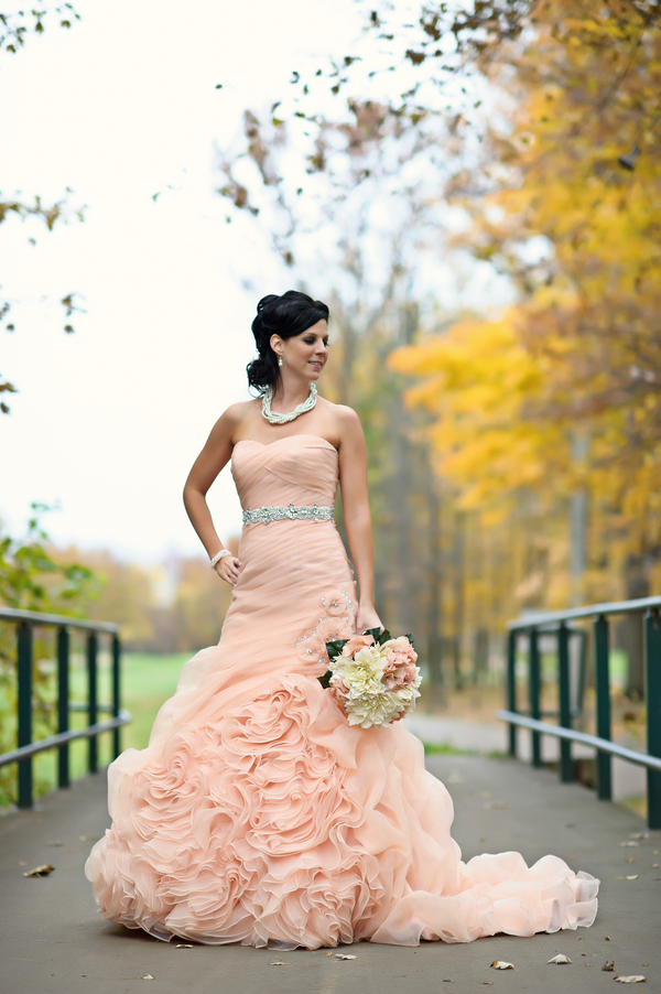peach+green+mint+pistachio+autumn+fall+wedding+pink+dress+blush+bridal+gown+bride+crystal+sash+hair+makeup+alternative+offbeat+red+brown+purple+violet+yellow+orange+leaf+leaves+classic+sarah+kossuch+photography+7 - Salmon & Chiffon