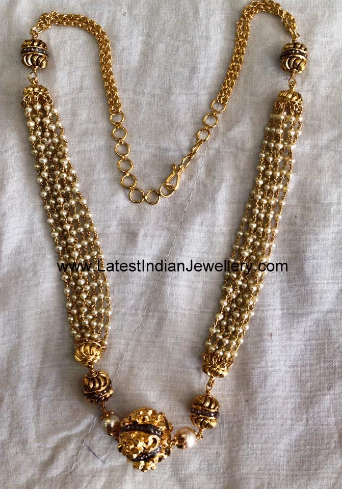 Multi Strand Pearl Balls Necklace Latest Indian Jewellery Designs