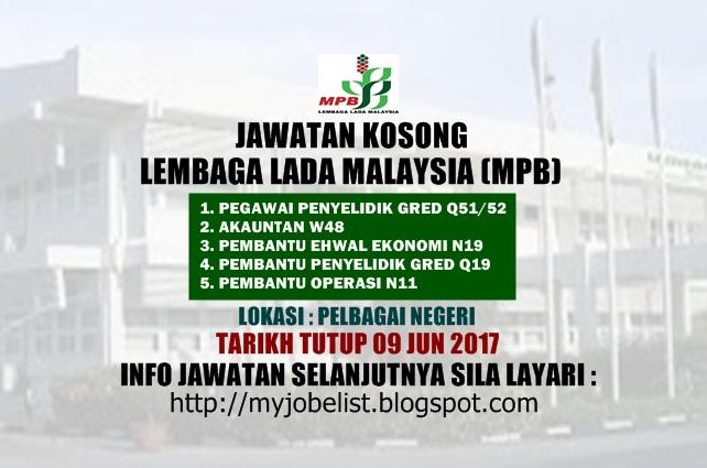 Jawatan Kosong di Lembaga Lada Malaysia (MPB) Jun 2017