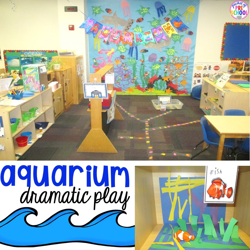 How to change  your dramatic play center into an aquarium (awesome classroom photos, tips, and ideas)