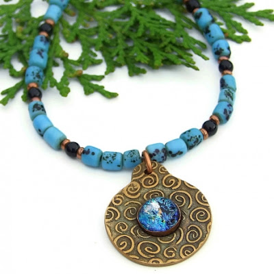 spiral and dichroic pendant necklace for women