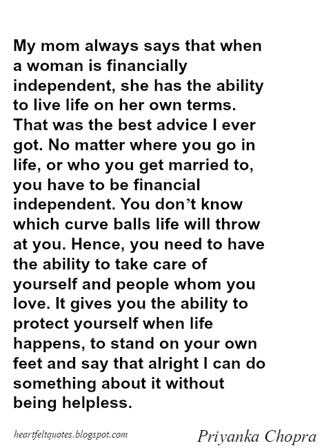 Woman Should Be Financially Independent | Heartfelt Love And ...