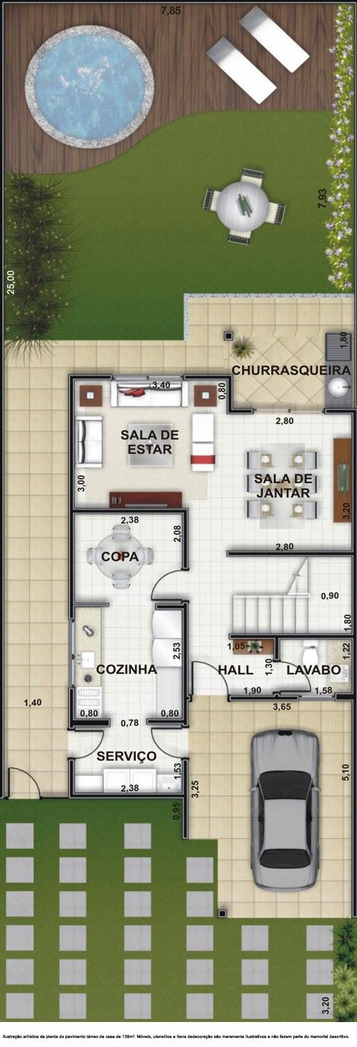 Plantas de casas modelos de casas projetos online for Casa moderna 140 m2