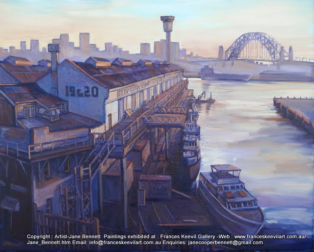 plein air oil painting of Jones Bay Wharf in Pyrmont  by industrial heritage artist Jane Bennett