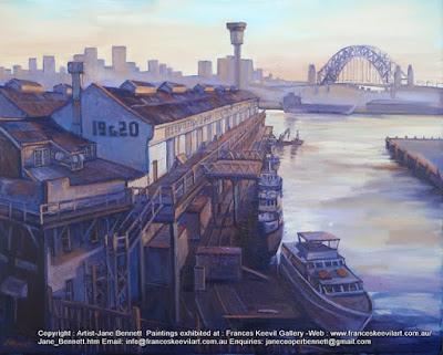 Plein air oil painting of  Jones Bay Wharf by industrial heritage artist Jane Bennett