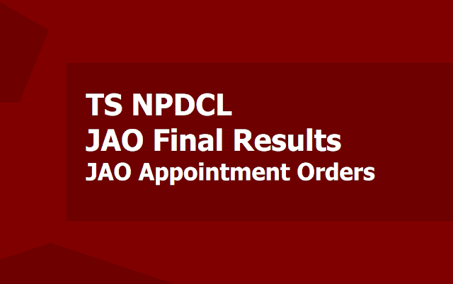 TS NPDCL JAO Final Selection List Results, Junior Accounts Officers Appointment Orders 2019