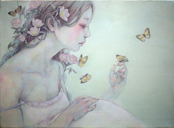 Miho Hirano pinturas mulheres delicadas orientais surreais fantasia triste