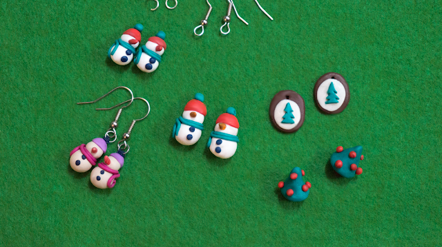 Snowman earrings and some more designs (xmas trees)