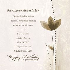 Happy birthday wishes for mother-in-law: for a lovely mother in law
