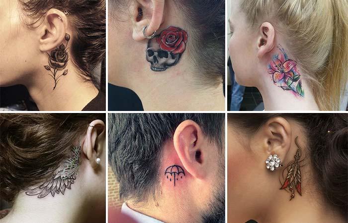 kulak arkası dövmeleri behind ear tattoos