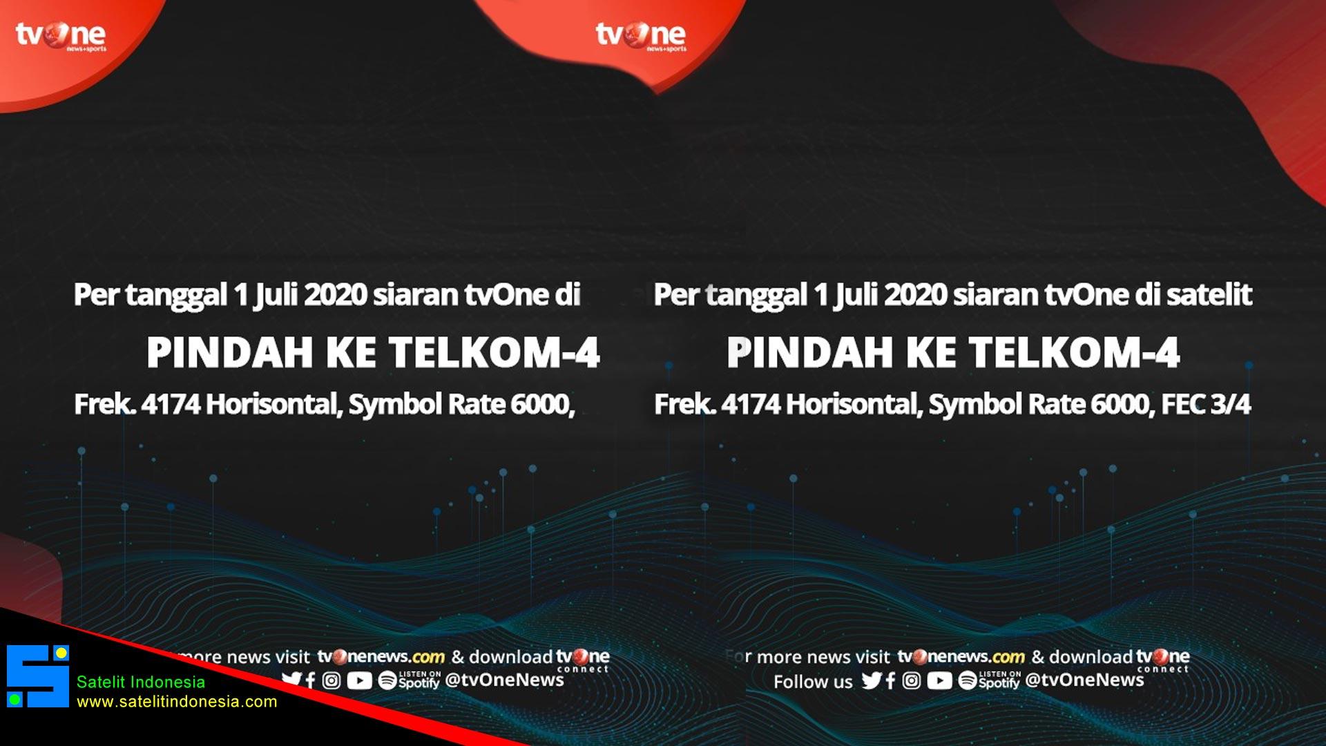 TVone Pindah Frekuensi Ke Satelit Telkom 4 dari Palapa D