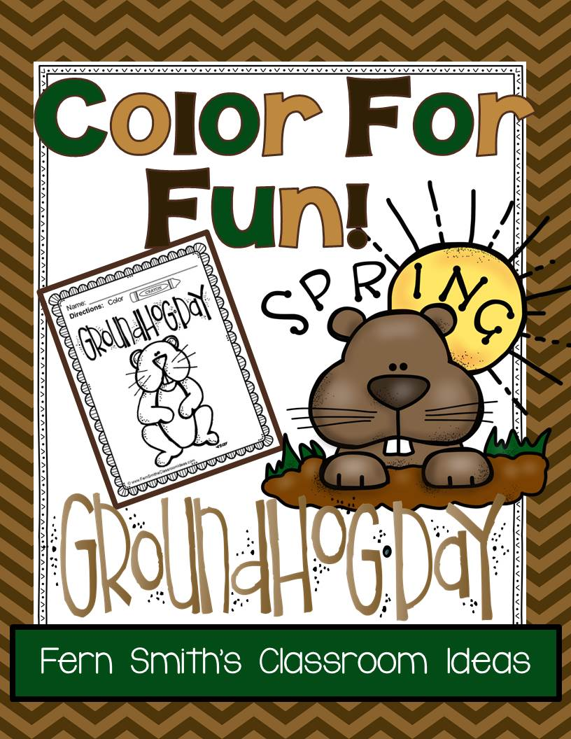Fern\'s Freebie Friday ~ FREE Groundhog Day Fun! One Color For Fun ...
