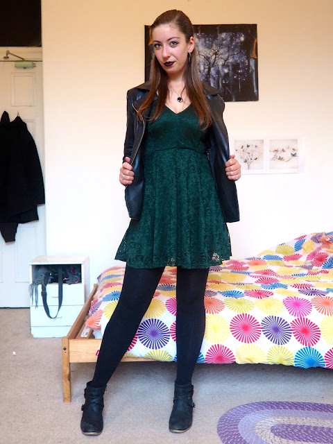 Marvel's Loki inspired Disneybound outfit of dark green lace dress, black leather jacket & black ankle boots