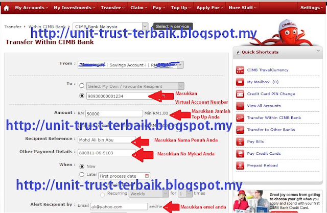 Cara Top Up Unit Trust CWA melalui Cimbclicks