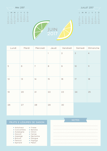 calendrier mangue coco juin 2017