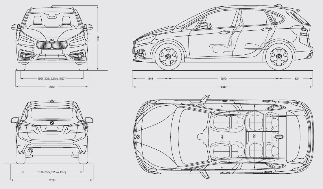 BMW Serie 2 Active Tourer 2014 2015 Dimensioni on Jeep Compass