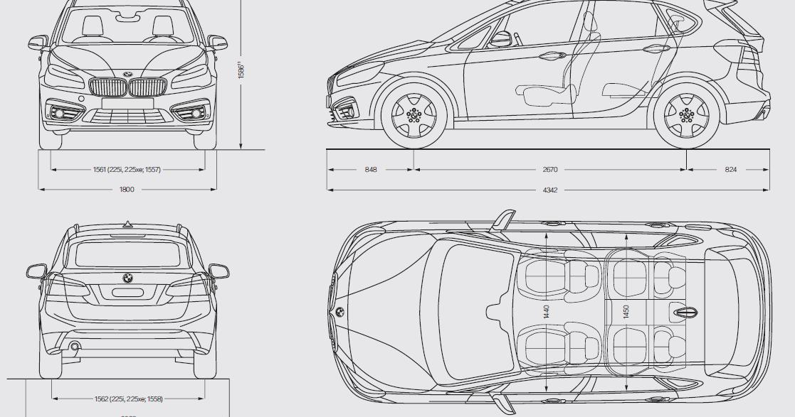 Dimensioni della BMW Serie 2 Active Tourer 2014-2015